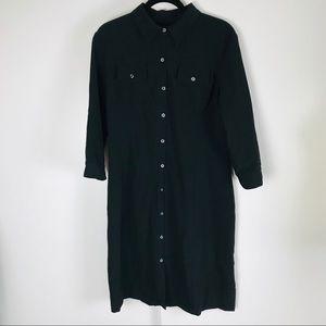Club Monaco Black Long Sleeve Button Front Dress
